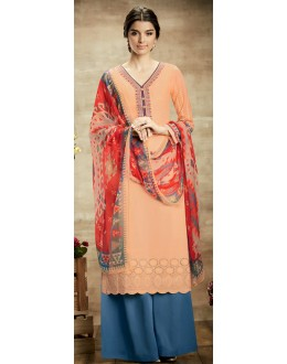 Casual Wear Peach & Blue Palazzo Suit - 107