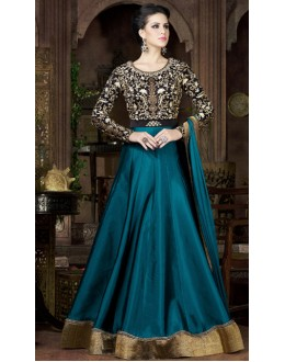 Party Wear Peacok Green & Black Tapeta Silk Gown - 4802-A