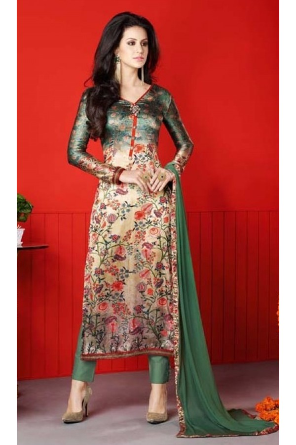 Party Wear Multi-Colour Satin Salwar Suit  - 1405