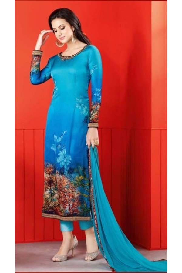 Ethnic Wear Sky Blue Satin Salwar Suit  - 1406