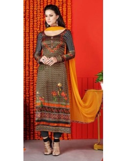 Party Wear Multi-Colour Satin Salwar Suit  - 1408