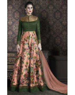 Party Wear Green & Peach Anarkali Suit - 4706