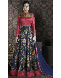 Party Wear Maroon & Blue Anarkali Suit - 4707