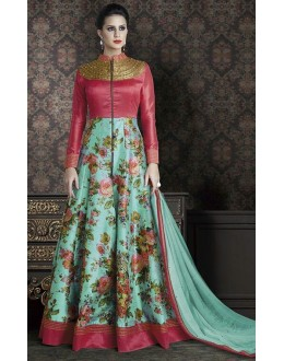 Fancy Maroon & Turquoise Anarkali Suit - 4708