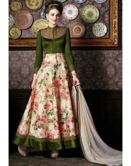 Party Wear Green & Beige Anarkali Suit - 4710