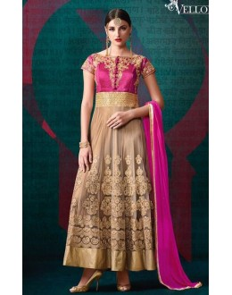 Party Wear Pink & Beige Bangalori Silk Anarkali Suit - 201