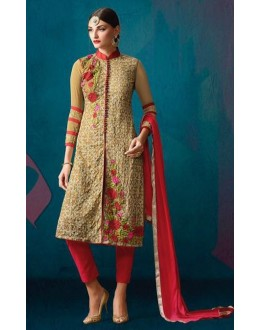 Party Wear Beige & Red Georgette Salwar Suit - 203