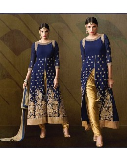 Wedding Wear Blue & Gold Georgette Silt Salwar Suit - 206