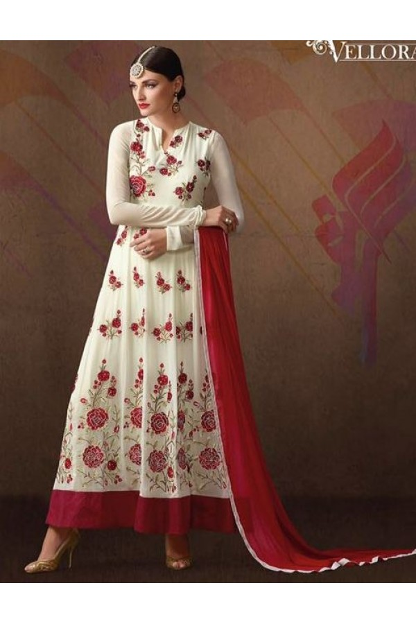 Party Wear White & Red Georgette Anarkali Suit - 207