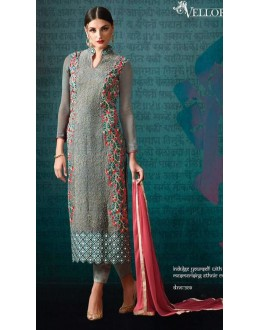 Party Wear Grey & Pink Georgette Salwar Suit - 209