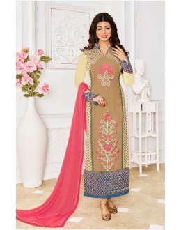 Ayesha Takia In Chickoo Georgette Salwar Suit - 1151