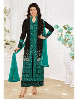 Ayesha Takia In Black Georgette Salwar Suit - 1152