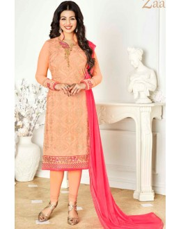 Ayesha Takia In Peach & Pink Georgette Salwar Suit  - 1137