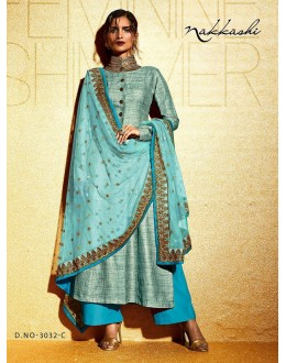 Party wear Blue Khadi  Salwar suit -173