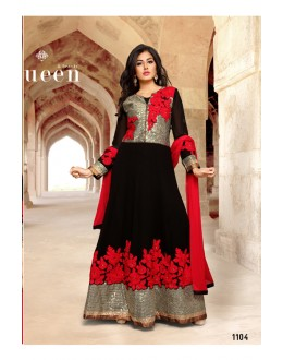 Party Wear Black Georgette Anarkali Suit - 1104