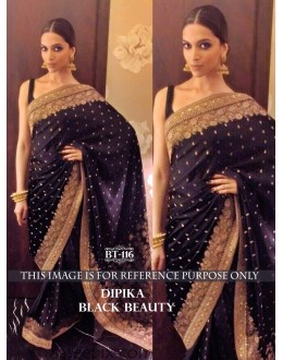 Bollywood Replica - Deepika Padukone Designer Black Jacquard Saree - BT-116
