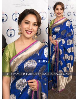 Bollywood Replica - Madhuri Dixit In Designer Blue Silk Saree - BT-115