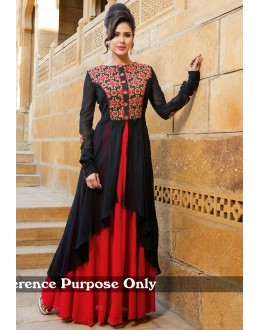 Party Wear Heavy Georgette Black Gown - BT-10
