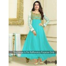 Party Wear Heavy Georgette Turquoise Gown - BT-9