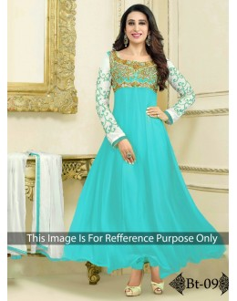 ab20a6933ca Party Wear Heavy Georgette Turquoise Gown - BT-9