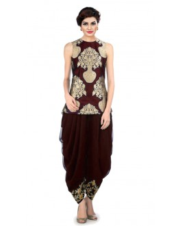 Bollywood Replica - Party Wear Maroon Indo Western Dhoti Suit  - KZA-11
