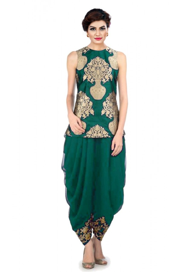 Bollywood Replica - Designer Green Indo Western Dhoti Suit  - KZA-12