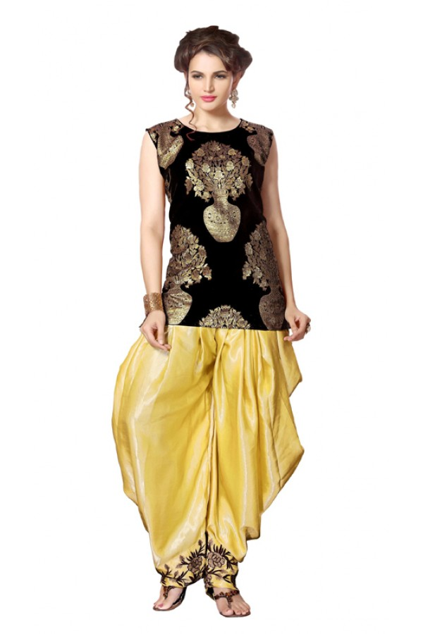 Bollywood Replica - Party Wear Black Indo Western Dhoti Suit  - KZA-14