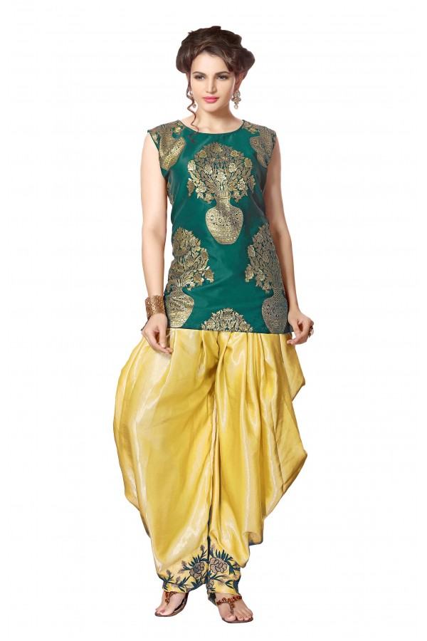 Bollywood Replica - Ethnic Wear Green Indo Western Dhoti Suit  - KZA-15