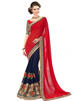 Bollywood Replica -  Designer Red & Blue Saree - 1501