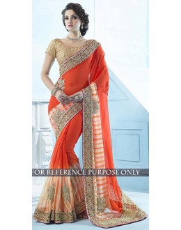 Bollywood Replica -  Designer Orange Saree - 1503