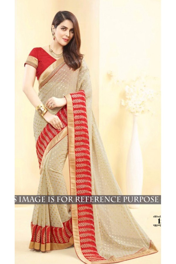Bollywood Replica -  Designer Beige & Red Saree - 1512