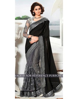 Bollywood Replica -  Designer Black & Grey Saree - 1518