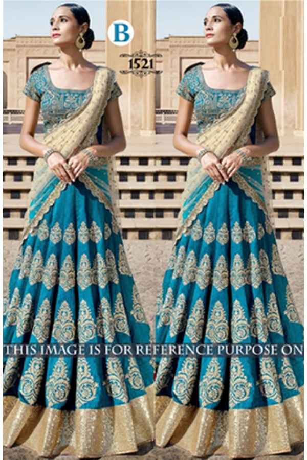 Bollywood Replica - Bridal Sky Blue Lehenga Choli -  1521-B