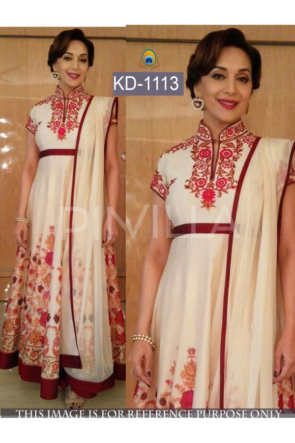 Bollywood Replica - Madhuri Dixit Designer White Anarkali Suit  - KD-1113