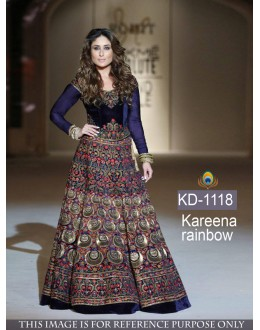 Bollywood Replica - Kareena Kapoor Designer Blue Velvet Gown  - KD-1118
