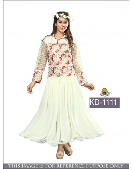 Party Wear Cream Georgette Gown- KD-1111