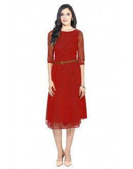 Party Wear Readymade Red Western Wear Dress - D-04