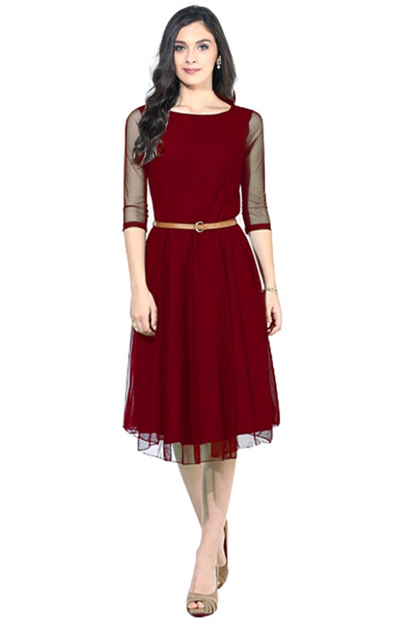 Western Wear Readymade Maroon Skater Dress - D-05