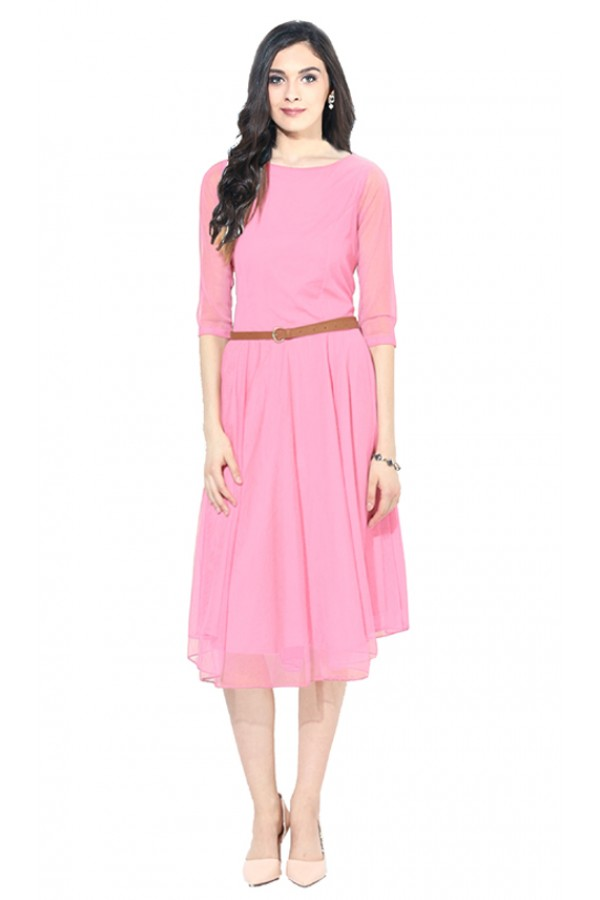 Party Wear Readymade Pink Western Wear Dress - D-06