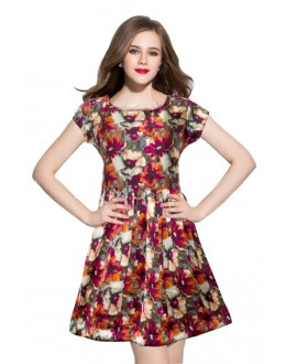 Casual Wear Readymade Royal Red Western Wear Dress - D-08-C