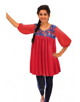Party Wear Readymade Red Western Wear Dress - D-14
