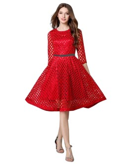 Western Wear Readymade Red Skater Dress - D-31