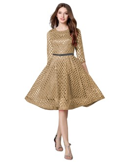 Causal Wear Readymade Chickoo Western Wear Dress - D-33