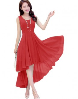 Party Wear Readymade Red Western Wear Dress - D-38