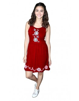Ethnic Wear Readymade Red Western Wear Dress - D-49