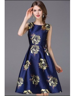 Fancy Readymade Navy Blue Western Wear Dress - D-55