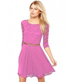 Party Wear Readymade Pink Western Wear Dress - D-62