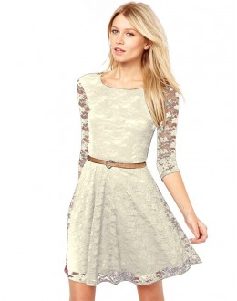 Party Wear Readymade Cream Western Wear Dress - D-63
