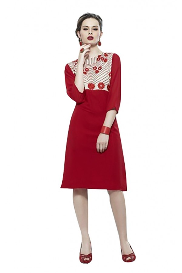 Ethnic Wear Readymade Red Cotton Kurti - K-05
