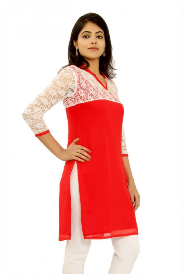 Party Wear Readymade Red Cotton Kurti - K-10